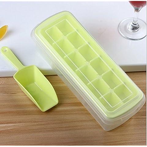 Rainbow Love morbida in silicone per cubetti di ghiaccio, con coperchio, Contenitore per ghiaccio e ghiaccio pala 27.5*7.5*10.5cm verde