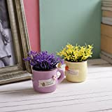 #10: Tayhaa Set of 2 Purple & Yellow Artificial Plants with Mug Style Pot
