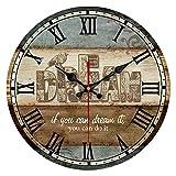 QIAOB 14'Vintage Colorido Francia París País francés Estilo Toscano Hogar Silencio Reloj de Pared Redondo de Madera Sala de Estar, Dormitorio,A