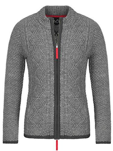 Almbock Strickjacke | Hochwertige Strickjacke Reißverschluss Damen | Trachten Strickjacke Damen Grau aus feiner Wolle in Grau Gr. S