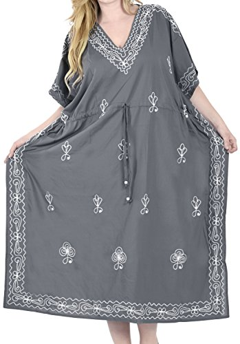 LA LEELA Damen Überdimensional Maxi Kimono Kaftan Tunika Kaftan Damen Top Freie Größe StrandKleider In 7 verschiedenen Farben Grau