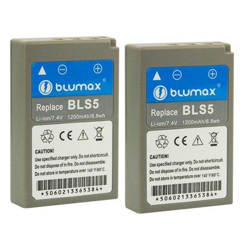 Blumax 2X Akku für Olympus BLS-5 / BLS-50 | 1100mAh | kompatibel mit Olympus Stylus 1 1s Pen E-PL2 E-PL3 E-PL5 E-PL6 E-PL7 E-P3 E-PM1 E-PM2 - OMD E-M10 und E-M10 Mark II