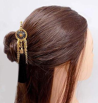 Pic à cheveux en métal doré pendentif rouage doré cuir vegan noir doré soleil et strass swarovski Fireopal pompon noir