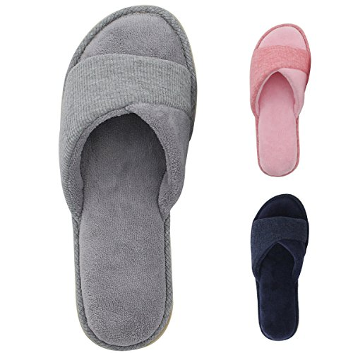 HomeIdeas Ladies' Open Toe Terrycloth Slide House Slippers with Comfy Fleece Lining,...