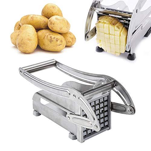 Wefun Pommes Frites Schneider,Edelstahl Extra Scharfes Set mit 2 Klingen,Frittenschneider für Französische