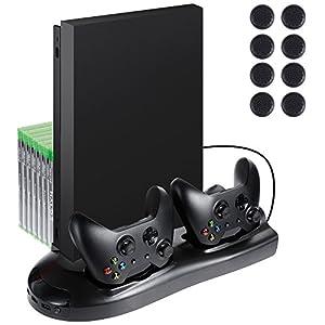 Lictin Xbox One X Vertikaler Ständer Lüfter mit Dual Ladestation für 2 Xbox One X Controller + 8 Silikon Daumen für Xbox One X Controller (nur für ORIGINAL Akku geeignet)