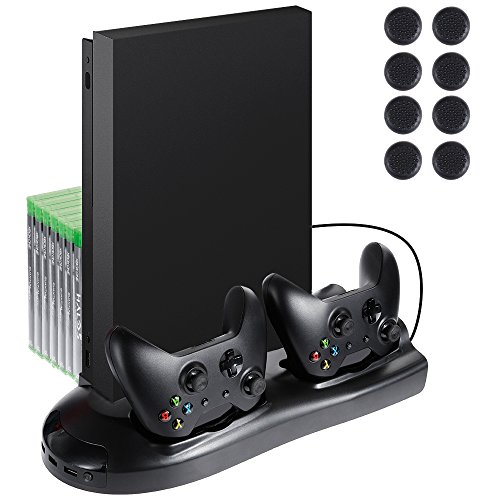 Lictin Xbox One X Vertical Stand Cooling Fan with Dual Charging Station for Xbox One X Controller 7 Slots for Game Storage+ 8 Silicone Thumbs for Xbox One X Controller