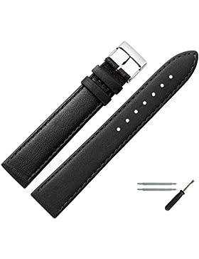 Uhrenarmband 26mm Leder schwarz, feines echtes Rindleder - Marburger Uhrband inkl. Federstege & Werkzeug - passend...