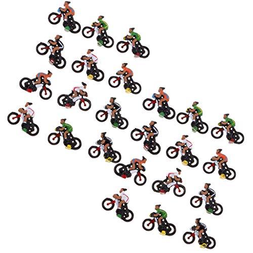 SM SunniMix 24pcs Modèle Coureur Cycliste Pièces de Disposition de Paysage Diorama 2cm 1/87 Ho
