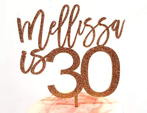 Personalisierte Cake Topper Acryl Geburtstag Laser geschnittenen Benutzerdefinierten Namen Rose Gold Cake Topper 18. 21. 30. 40. 50. 60. 70. 80. 30 50 60 70