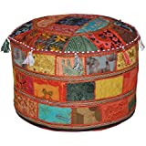 Décorative traditionnelle ottomane Coussin de sol confortable Tabouret agrémenté de broderies et patchwork, 58 X 33 cm