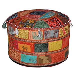 Marubhumi India Floor cotton Ottoman Embellished with Patchwork and Embroidery Work Cushion Cover