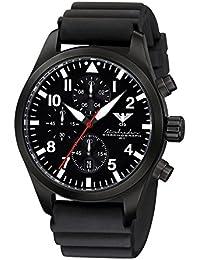 Airleader Black Steel Chronograph KHS.AIRBSC.DB Edelstahl IP-beschichtet schwarz, Diverband schwarz, KHS Tactical Watch, Einsatzuhr, Fliegeruhr