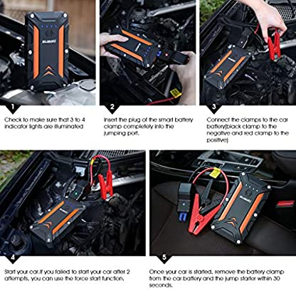 51p15YLzfyL. SS416  - SUAOKI CJS02 Arrancador de Coche 1000A, 12000mAh Carga rápida 3.0 (hasta 7L de Gasolina o 5L Diesel) Jump Starter con Salida y Entrada de 18W Tipo C, Abrazaderas Inteligentes y Linterna LED