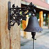 GLJJQMY Campanella campanaria in Stile Europeo Giardino Decorazione da Parete in Ferro battuto Campanello in ghisa Campana a Mano 23.8x10.5x20.5cm Retro Campanello