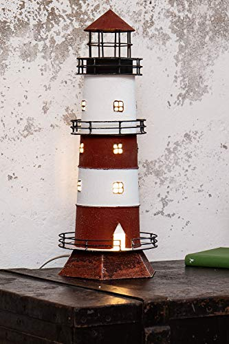 mare-me Leuchtturm Lampe rot weiß -