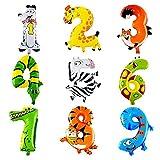 Ouinne [9 Stück] Nummer Folienballon Tier Kit für Kinder Geburtstag Party Dekoration