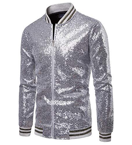 Herren Sequin Jacke Zip Blazer Baseball Tops Sparkle Metallic Nachtclub Langarm Down Männer 70er Jahre Disco Varsity Bomber Shirt Party Kostüm (2XL, (Retro Tanz Kostüme Für Männer)