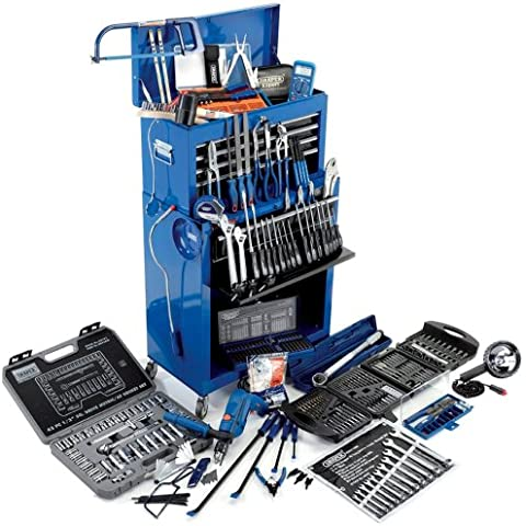 Draper General Tool Kit Roller Cabinet with Hammer Drill and Hand Tools W616xD330xH1080mm Ref 43748