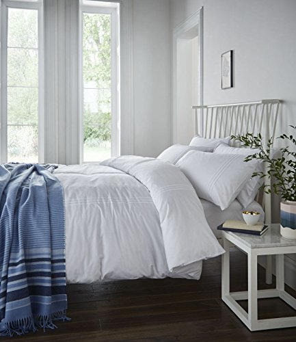 Catherine Lansfield Minimalist - Funda nórdica y 2 fundas de almohada, color blanco