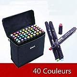 40 Couleurs Marqueurs Permanents,Double Pointe Marker pens,Sac de...