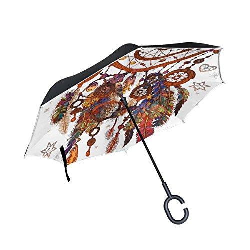 jstel doble capa puede Magic símbolo Atrapasueños paraguas coches Reverse resistente al viento lluvia paraguas para coche al aire libre con asa en forma de C