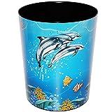 Papierkorb / Behälter - ' Delfine & Fische - Unterwasserwelt ' - aus Kunststoff - Mülleimer / Eimer - Aufbewahrungsbox für Kinder / Büro - Mädchen & Jungen - Abfalleimer - Schule - für Kinderschreibtisch / Abfallbehälter Kinderzimmer - Erwachsene - Delphin - Fisch - Tiere - Delfine / Tier - Korallenriff - auch als Blumentopf nutzbar - Kunststoffeimer / Abfallsammler