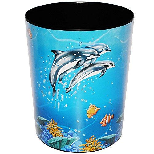 Papierkorb / Behälter -  Delfine & Fische - Unterwasserwelt  - aus Kunststoff - Mülleimer / Eimer - Aufbewahrungsbox für Kinder / Büro - Mädchen & Jungen - ..