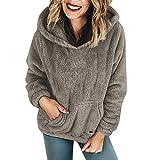 MEIbax Damen warme Wolltaschen Kapuzenpulli Mantel Winter Baumwollmantel Outwear Plüsch Sweatshirt Fleece Hoodie Pullover