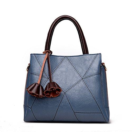 LiZhen nuovo di mezza età femmina retrò casual pacco madre è una borsa elegante e semplice il flusso di pacchetti spalla su confezioni, blu Blue