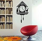 Pbbzl Rustikale Kuckucksuhr Wandtattoo - Benutzerdefinierte Vinyl-Kunst-Aufkleber Für Innenräume, Häuser, Wohnzimmer, Apartments Und Schlafzimmer 32X57Cm