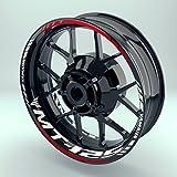 OneWheel Felgenaufkleber Set Yamaha MT 125 für Motorrad   17 Zoll   Felgenrandaufkleber & Felgenbettaufkleber   Vorder- & Hinterreifen Komplett-Set (Einfach - glänzend)