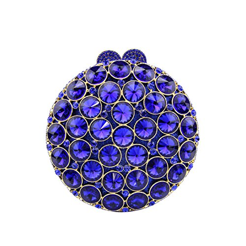 Kleine Exquisite Runde Handtasche Mode Kleid Diamant Ornamente Handtasche Party Mini Abendtasche Blue