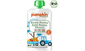 Pumpkin Organics WONNE Bio Gemüse Quetschie aus Kürbis, Karotte mit Apfel, Banane und Pfirsich (10 x 100g) I Babynahrung ab dem 6. Monat