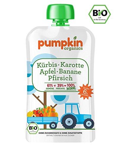 Bio-Babybrei im Quetschbeutel von Pumpkin Organics - Babynahrung mit viel Gemüse, ohne Zusatzstoffe - WONNE mit Kürbis, Karotte mit Apfel, Banane und Pfirsich (30x100g) ab dem 6. Monat