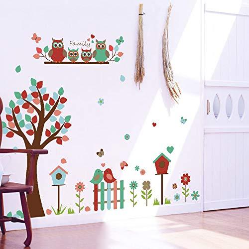 XCGZ Wandsticker Eule, Blume, Baum, Vogel, schöne Wand, Kindergartensaal, Kindergarten-Klassenzimmer, dekorative Malerei im Wohnzimmer (Im Eule Klassenzimmer)