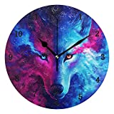 ZZKKO - Reloj de Pared con diseño de Lobo Animal, silencioso, Funciona con Pilas, fácil de Leer, Decorativo, para Cocina, Dormitorio, Cuarto de baño, Sala de Estar, Aula, etc.