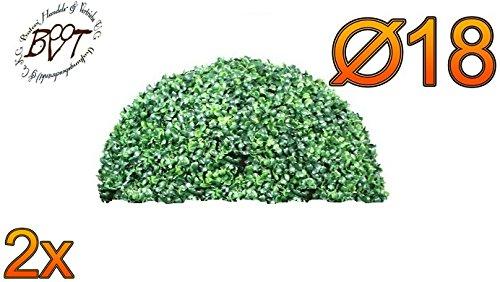 2X Premium Buchs, Echtbaum-Optik, kleine Buchs, Buchsbaum-Halbkugel/Halbschale Ø 18 cm 180 mm grün dunkelgrün, robust und wetterfest