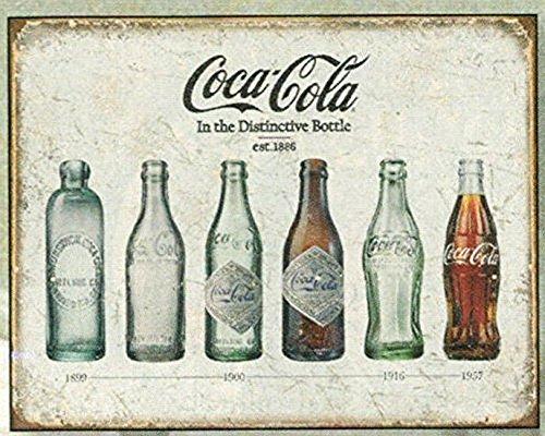 FRANZOSICH VINTAGE METALL BLECHSCHILD 40X30cm RETRO WERBUNG SODA COCA COLA EVOLUTION DER FLASSCHE (Vintage Coca-cola-werbung)