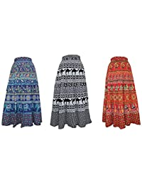 MRV FASHION Women's Printed Cotton Wrap Around Long Skirt (Blue and Red, Free Size)