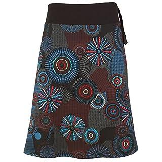 Guru-Shop Bestickter, Knielanger Rock, Boho Chic, Retro Mandala, Damen, Grau, Baumwolle, Size:L/XL (42), Kurze Röcke Alternative Bekleidung