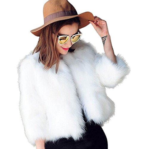 Lazzboy Damen Kurze Mantel Kunstpelz Kunstfell Cardigan Felljacke Jacke Strickjacke Outwear(Weiß,38) - Kurze Kunstfell-mantel