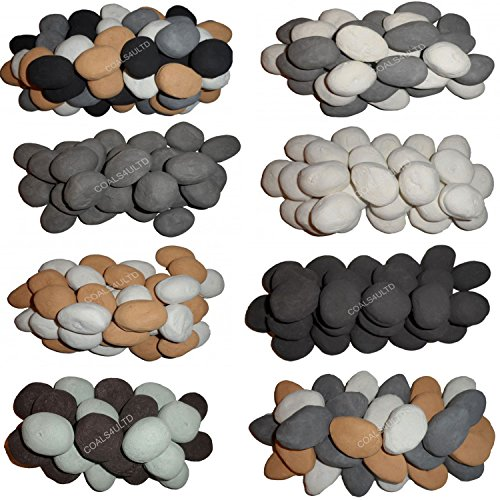 18 6 DIFFERENT COLOURS Gas Fire Replacement Ceramic Pebbles Replacements/Bio Fuels/Ceramic/Boxed (White BEIGE GREY BLACK BROWN DUCK EGG)