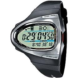 CASIO Sport CHR - Reloj Unisex de Cuarzo, Correa de Resina Color Negro (con pulsómetro, Cuenta Vueltas, cronómetro, Alarma, luz)