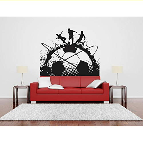 (Lvabc Große Tinte Fußball Kunst Decals Fußball Spiel Spieler Ball Sport Wand Vinyl Aufkleber Kinder Mädchen Jungen Schlafzimmer Kopfteil Wandbilder 42X52 Cm)