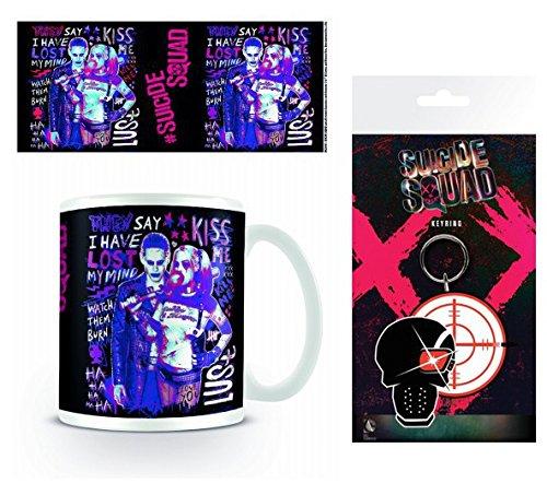 Set: Escuadrón Suicida, Harley Quinn Y Joker Taza Foto (9x8 cm) Y 1 Escuadrón Suicida, Llavero (15x7 cm)
