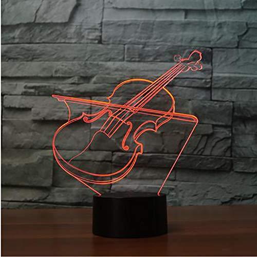 3D Nachtlichter Acryl Usb Neuheit 3D Violine Form Tischlampe Led 7 Farben Atmosphäre Nachtlicht Musikinstrumente Licht Kinder Geschenk Room Decor