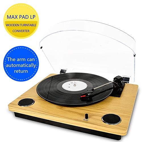 Max Pad LP Giradischi per vinile con altoparlanti stereo, giradischi per conversione da vinile a USB, supporto per blocco automatico ritorno e arresto Caratteristica / Uscita RCA / Aux in, in legno