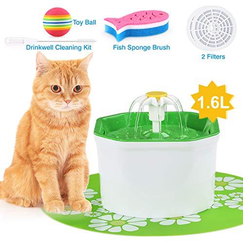 VITCOCO Katzen Trinkbrunnen,Trinkbrunnen für Katzen und Hunde und Wasserspender für Haustiere Wasserspender mit automatischem Aktivkohlefilter für Haustiere Mit Spielzeug und Reinigungsbürste (1,6 l)