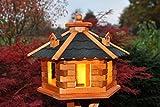 Vogelhaus Futterhaus Vogelvilla mit Solarbeleuchtung und Silo klein und Groß verschiedene Farben V16 (Schwarz, groß), Vogelfutterhaus mit Futtersilo, Silo